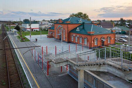 NIZHNIYE VYAZOVYE, RUSSIA - AUGUST 20, 2019. Sviyazhsk railway station, as viewed from the pedestiran bridge over the railway tracks. Nizhniye Vyazovye, Republic of Tatarstan, Russia.