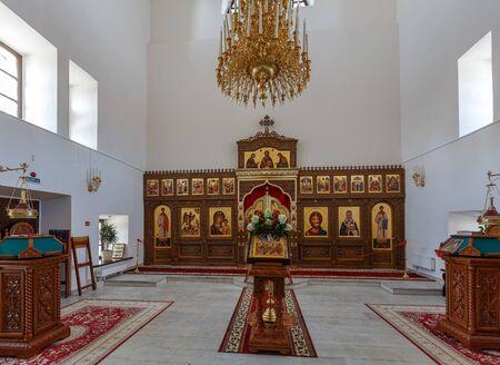 SVIYAZHSK, RUSSIA - AUGUST 20, 2019. Church of St. German Kazan and St. Mitrofan of Voronezh after restoratioin. Assumption male monastery, town of Sviyazhsk, Republic of Tatarstan, Russia.