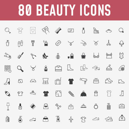 Illustration for 80 set of beauty icons. Makeup and cosmetics black,outline icons in set collection for design. Makeup and equipment vector symbol stock web illustration. - Vector - Royalty Free Image