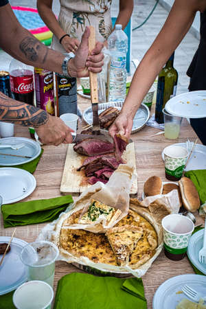 Photo pour Milan, Italy, September 19, 2020: Grilled traditional Brazilian Picanha, it is a cut of beef that is popular and is widely consumed throughout Brazil - image libre de droit