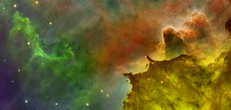 Colored clouds in Carina nebula. Retouched version of Hubble space telescope NASA ESA image