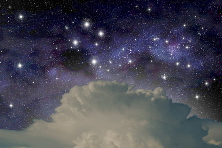 The constellation of the Southern Cross above a cumulonimbus cloud