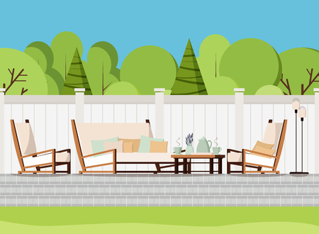 Illustration pour Relaxing porch zone: private backyard patio retreat with outdoor country soft sofa, table with cups of tea and flowers, armchairs and lamps. Flat cartoon style vector background scene illustration. - image libre de droit