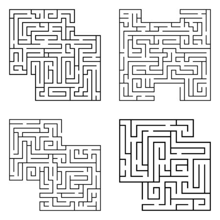Illustration pour Set of four solated black mazes, labyrinth beginning complexity on white background. Vector illustration. - image libre de droit