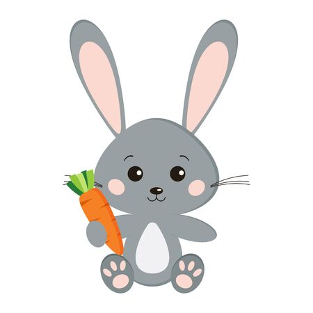 Illustration for Image of sweet cute grey bunny rabbit in sitting pose with carrot in paw isolated on white background in cartoon style. Vector flat design characteres illustration. - Royalty Free Image