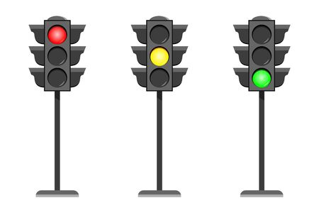 Illustration for Vector concept traffic light interface icons. Typical horizontal traffic signals with red no, stop , yellow wait and green yes, go light. Flat design illustration set isolated on white background - Royalty Free Image