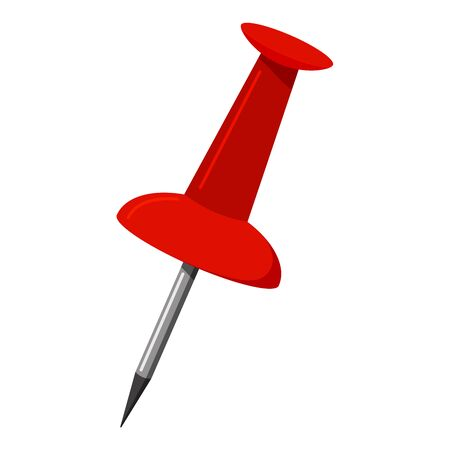 Illustration pour Red push office pin icon isolated on white background. Vector illustration of office attach button sign. Flat design push pin thumbtack close up. - image libre de droit