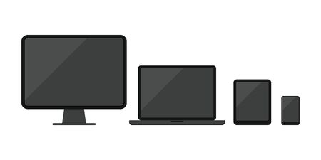 Illustration pour Computer desktop, laptop, tablet pc, smartphone or mobile phone icon set isolated on white background. Modern electronic devices with black screen collection. Flat design vector illustration. - image libre de droit