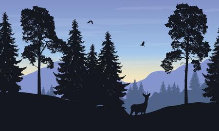 Illustration pour Realistic vector illustration of mountain landscape with forest, deer and eagle - image libre de droit