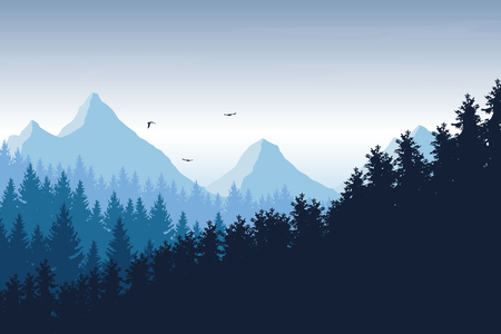 Illustration pour Vector illustration of mountain landscape with forest under blue sky with clouds and flying birds, with space for text - image libre de droit