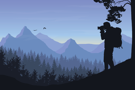 Ilustración de A tourist photographing a flying bird in a mountain landscape with forest under a morning sky with dawn and clouds - vector. - Imagen libre de derechos
