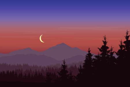 Illustration pour A Vector illustration of mountain landscape with forest under blue-pink sky with crescent - image libre de droit
