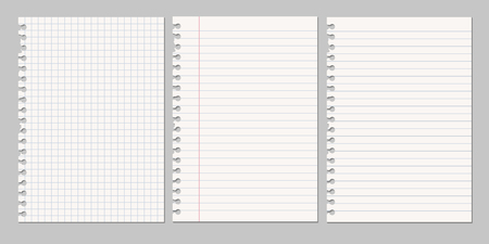 Illustration pour Set of vector realistic illustrations of a torn sheet of paper from a workbook - image libre de droit
