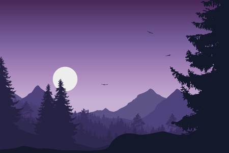 Illustration for Mountain landscape with forest, under a purple sky with flying birds and sun or moon - Royalty Free Image