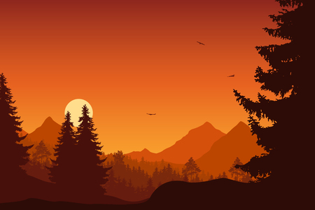 Illustration for Mountain landscape with forest, under a orange sky with flying birds and sun or moon - Royalty Free Image