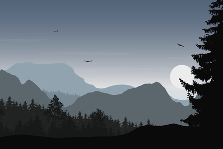 Illustration pour Mountain landscape with forest, under a grey sky with flying birds and sun or moon - image libre de droit