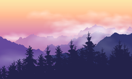 Illustration pour Mountain landscape with forest, clouds and fog between hills, under purple yellow sky with dawn - vector - image libre de droit