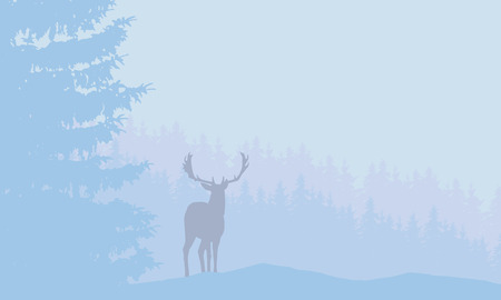 Illustration pour Deer with antlers standing in snowy coniferous forest with fog under blue winter sky - vector - image libre de droit