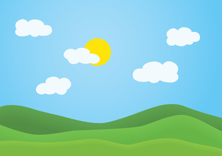 Illustration pour Flat design illustration of summer mountain landscape with green grassy hill under a clear blue sky with white clouds and shining sun - vector - image libre de droit