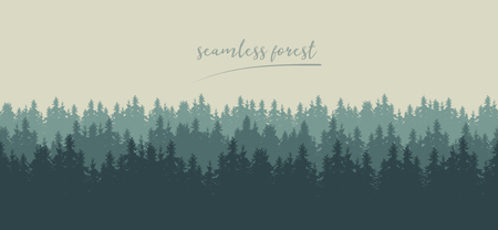 Illustration pour Realistic seamless illustration of silhouettes of green coniferous spruce or fir forest, under winter sky - vector - image libre de droit
