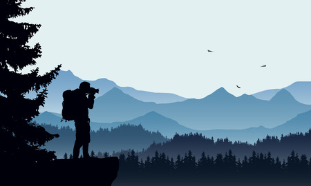 Realistic illustration of a mountain landscape with coniferous forest and photographers tourist with backpack, under a blue sky with three flying birds - vector