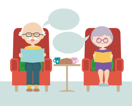 Illustration for Flat design cartoon illustration of sitting grandfather and grandmother or old man and woman with thought or speech bubble - vector - Royalty Free Image