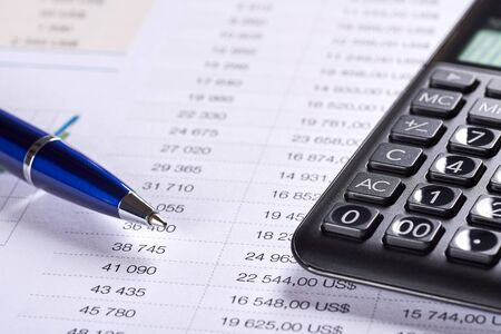 Photo for Office paper with table of numbers. Price analysis with dollar symbol, calculator and pen. Space for your text. - Royalty Free Image