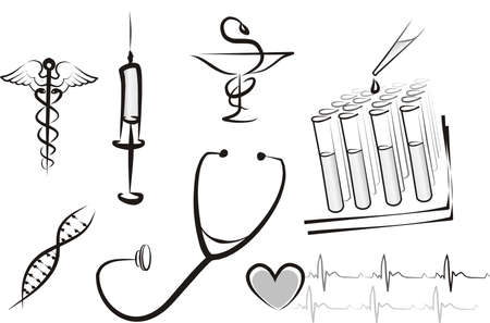 Illustration pour medicine concept isolated set - image libre de droit