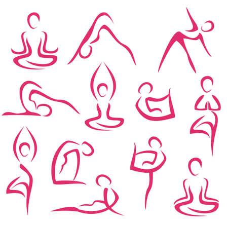 big set of yoga, pilates symbols