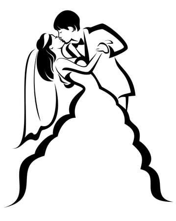 newlyweds, kissing couple, vector illustration