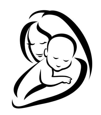 Illustration for mother and baby symbol - Royalty Free Image