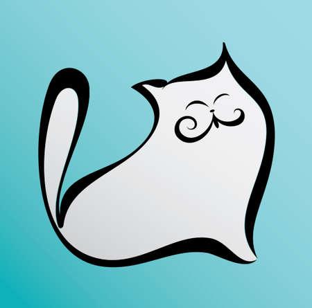 fat happy cat illustration in cartoon style