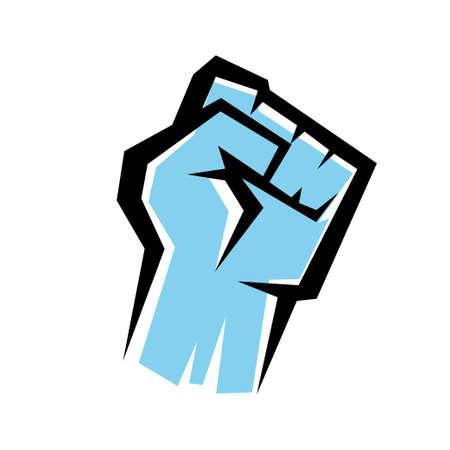 fist stylized vector icon, revolution concept