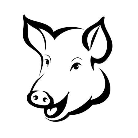 happy pig head portrait, isolated vector symbol