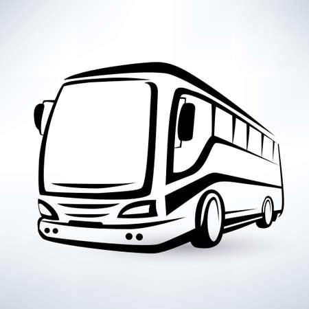 modern bus symbol, outlined vector icon