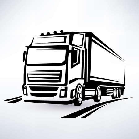 Illustration pour  europian truck outlined vector symbol - image libre de droit