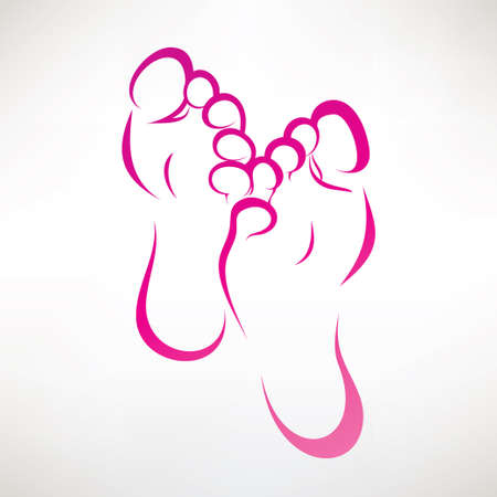 Illustration for foot print ountlined vector symbol - Royalty Free Image