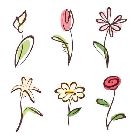 Illustration pour outlined hand drawn flower collection, design elements set - image libre de droit
