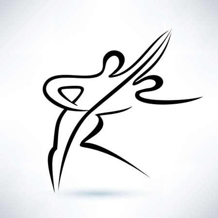 dancing couple, outlined vector sketch, stilized symbol