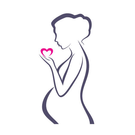 Illustration for pregnant woman symbol, stylized vector sketch - Royalty Free Image