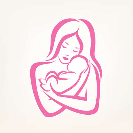 Photo pour mom and baby stylized vector symbol, outlined sketch - image libre de droit