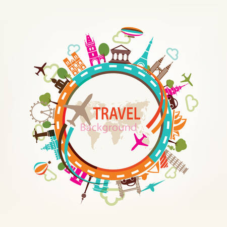 Illustration pour world travel, landmarks silhouettes icons set - image libre de droit