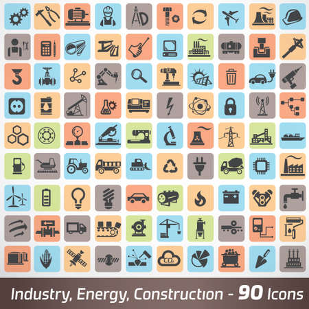 Illustration pour big set of industry, engineering and construction icons and symbol, technology and process concept - image libre de droit