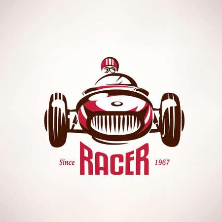 Illustration pour retro race car, vintage vector symbol, emblem, label template - image libre de droit