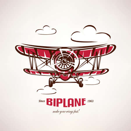 Illustration pour retro biplane, vintage airplane vector symbol, emblem, label template - image libre de droit