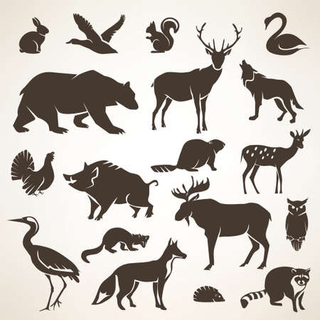 european forrest wild animals collection of stylized vector silhouettesのイラスト素材