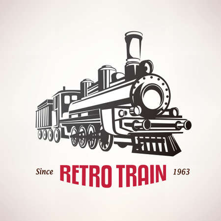 Illustration pour retro train, vintage  vector symbol, emblem, label template - image libre de droit