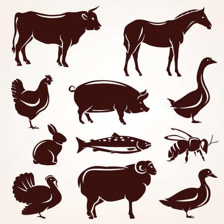 Photo pour farm animals silhouette collection - image libre de droit