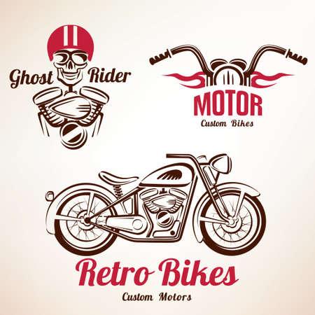 Illustration pour motorbikes emblems and labels set, retro motorcycle - image libre de droit
