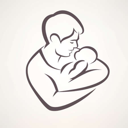 Illustration for father and baby isolated vector symbol - Royalty Free Image